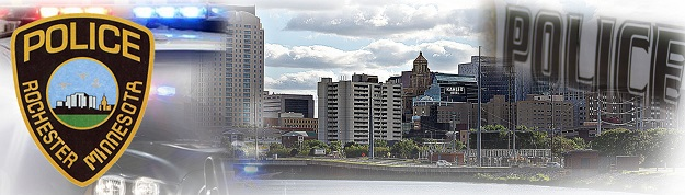 This is an artistic compilation of the Rochester Police Badge, City buildings and skyline, and a police squad car