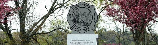 Springtime at the Rochester Fire Department Memorial in Silver Lake Park