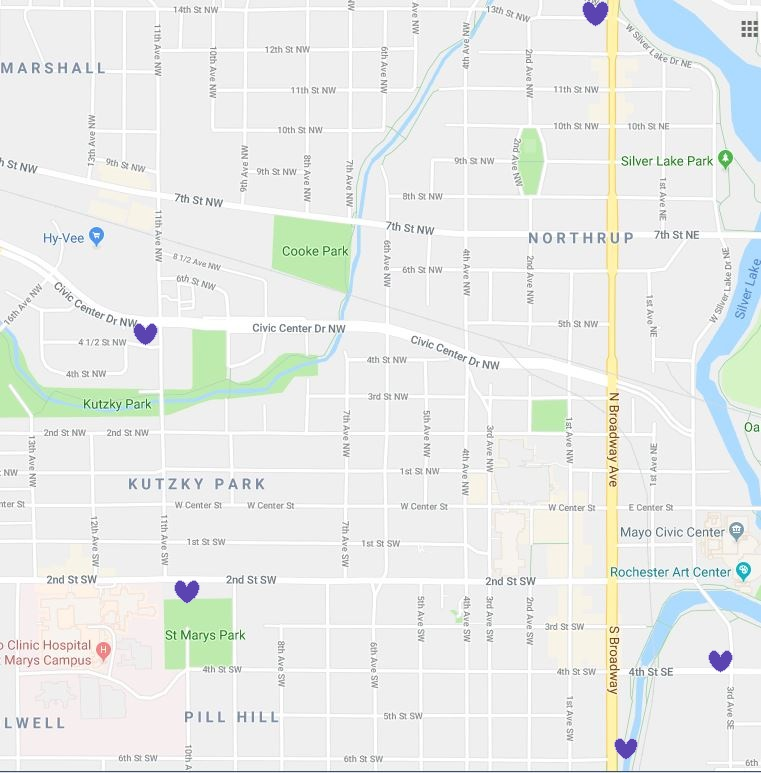 Map with Locations of Purple Heart in Rochester